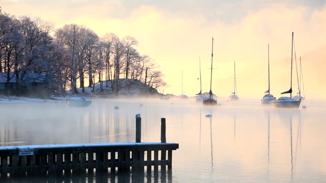 mist over a lake - frozen stock videos & royalty-free footage