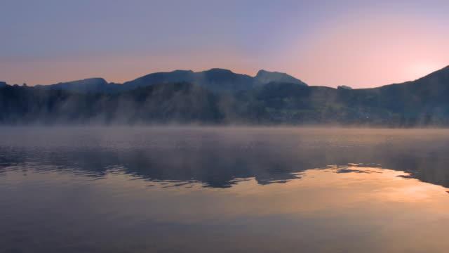 T/L PAN mist rising above Lake Hallstatt 5