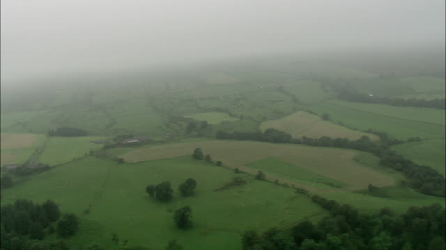 Mist settles above acre upon acre of farmland. Available in HD.