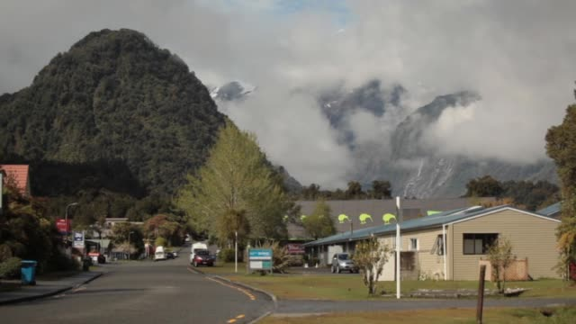 Mist shrouded hills above town of Franz Josef on the West Coast