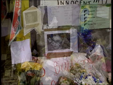mistaken shooting of jean charles de menezes more pressure on sir ian blair stockwell flowers and messages left for jean charles de menezes outside... - ストックウェル点の映像素材/bロール