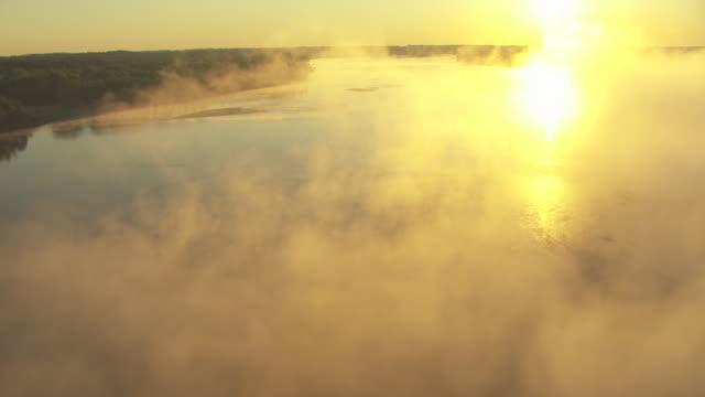 AERIAL Misty air over Arkansas River / Oklahoma, United States