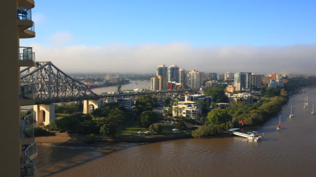 Misty Brisbane CBD with Story Bridge Timelapse
