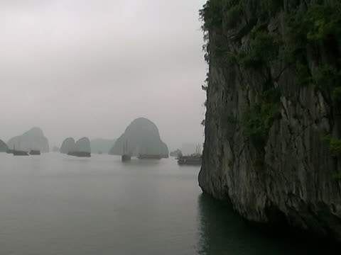 misty halong bay - backwater stock videos & royalty-free footage