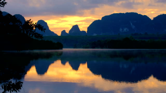 Misty Morning Lake at  Nong Thale, Krabi, Thailand