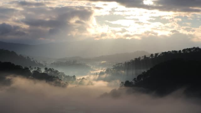 misty mountain valley in sunlight - vietnam stock videos & royalty-free footage