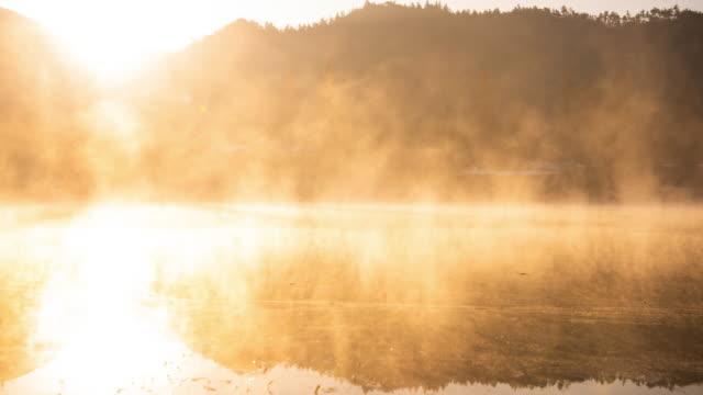 misty obongje reservoir at sunrise / naju-si, jeollanam-do, south korea - reservoir stock videos & royalty-free footage