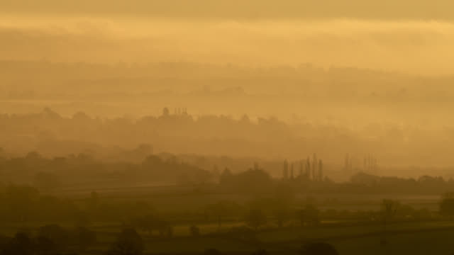 misty sunrise over countryside, worcestershire, england - england stock videos & royalty-free footage