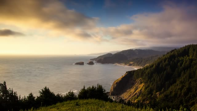 misty sunset on the southern oregon coast - time lapse - oregon us state stock videos & royalty-free footage