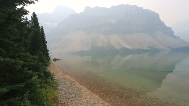 Misty view over Bow Lake, Banff National Park, Alberta, Canada