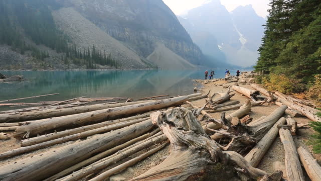 stockvideo's en b-roll-footage met misty view over moraine lake, banff national park, alberta, canada - drijfhout