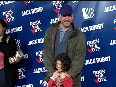 mitch pileggi and daughter at the rock the vote at warner brothers in burbank, california on september 29, 2004. - rock the vote stock-videos und b-roll-filmmaterial