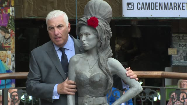 Mitch Winehouse Janis Winehouse at Amy Winehouse statue unveiling on 14th September 2014 in London England