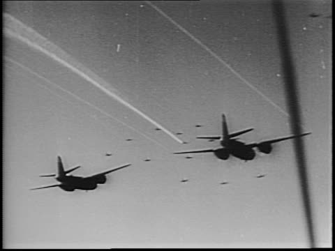 mitchell bombers taking off / b26 marauders fly overhead / planes fly low over english channel / pov flying over farmland and village / pilot in... - cockpit stock videos & royalty-free footage