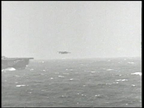 mitchell medium bomber taking off from uss enterprise 'big e' aircraft carrier vs captain william 'bull' halsey jr aka 'bill' other united states... - william halsey stock-videos und b-roll-filmmaterial