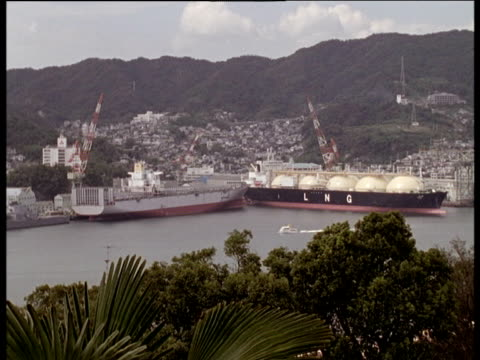 mitsubishi shipyard (intended target of atomic bomb on 09 aug 45) foliage in foreground nagasaki - weapons of mass destruction stock videos and b-roll footage