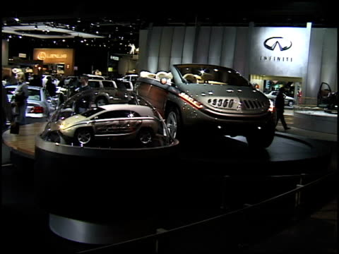 ws mitsubishi sup hard top front quarter passenger side view / ws front end / ws driver side profile pan right to cabriolet concept car and miniature... - translucent stock videos & royalty-free footage
