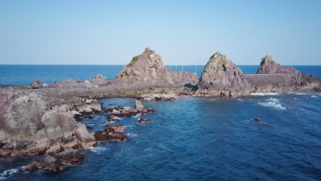 aerial ws mitsuishi rocks - satoyama scenery stock videos and b-roll footage