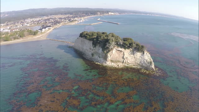 mitsukejima in noto peninsular: aerial shot from multicopter(drone) - multicopter stock videos & royalty-free footage