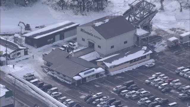 aerial, mitsumata station at kagura ski resort, niigata, japan - kagura stock videos & royalty-free footage