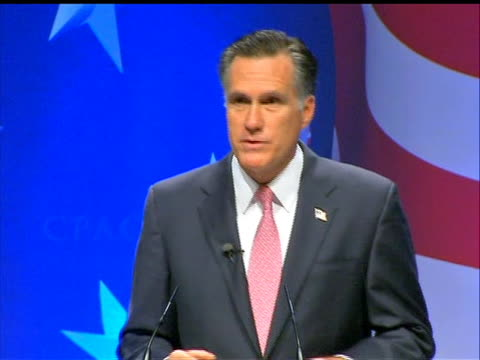 vídeos de stock, filmes e b-roll de mitt romney sot criticizing the president's response to the economic crisis. former republican governor of massachusetts mitt romney made these... - political action committee