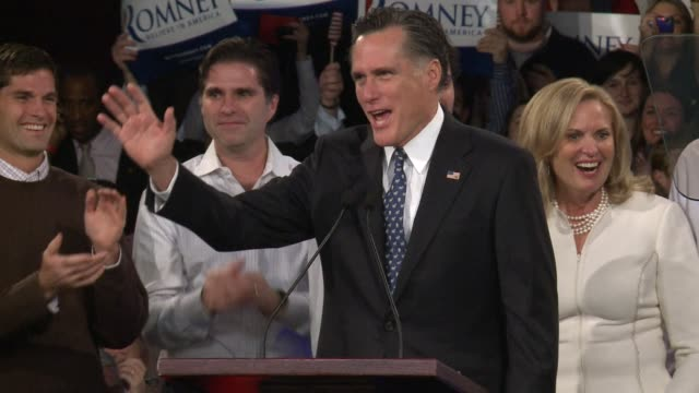 mitt romney stormed tuesday to a commanding win in new hampshire's republican presidential primary making him the clear favorite to take on president... - 2012 united states presidential election stock videos & royalty-free footage