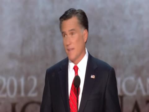 mitt romney talks about need for jobs in america at republican convention - republikanischer parteitag stock-videos und b-roll-filmmaterial