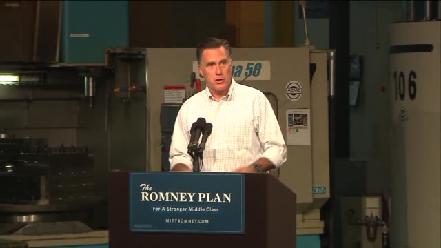 mitt romney visits acme industries to speak about the economy and raise money for his campaign for presidency on august 07 2012 in elk grove village... - 2012 united states presidential election stock videos & royalty-free footage