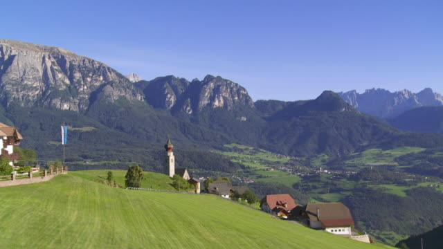 PAN Mittelberg Village on Ritten (Renon) Plateau in Front of the Schlern Mountain in South Tyrol