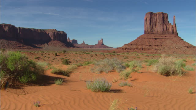 """""""mitten"""" butte formation in monument valley available in hd. - mitten stock videos and b-roll footage"""