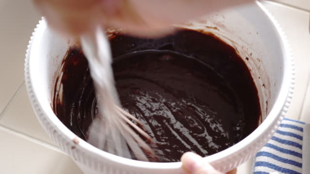 Mix chocolate with cocao and butter for making brownie.