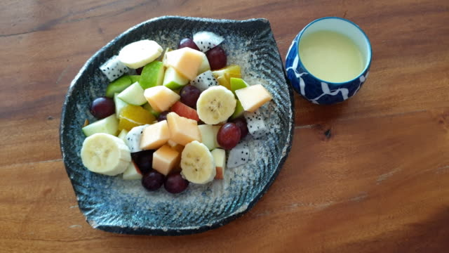 mix fruit and vegetable salad. - bowl stock videos & royalty-free footage