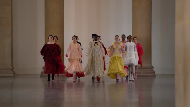 mix of slomo and realtime as models walking the runway during the bora aksu show during london fashion week february 2021 at tate britain on february... - catwalk stock videos & royalty-free footage