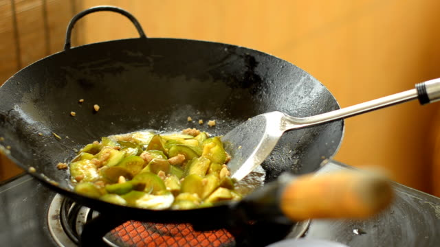 mix remnant and eggplant raw in pan - thai food stock videos and b-roll footage