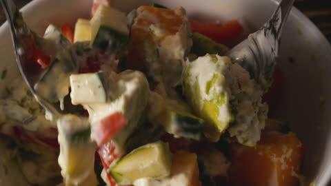 mix salad with salad dressing. - mango fruit stock videos & royalty-free footage