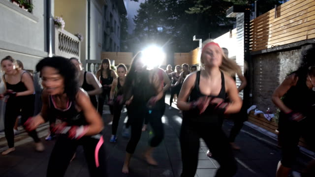 mixed age female group exercising - strongwoman stock videos & royalty-free footage