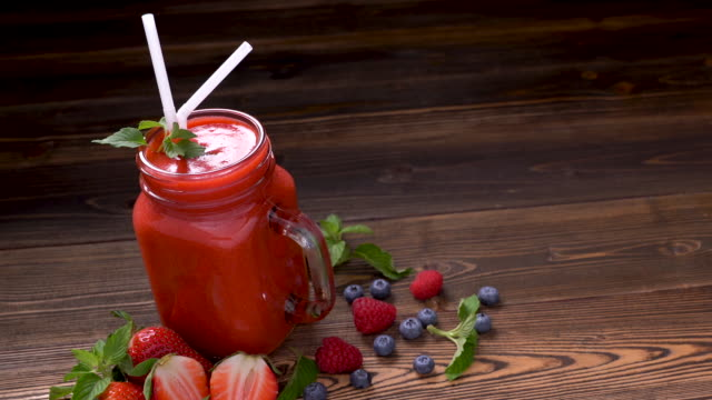 mixed berry smoothie in glass - brambleberry stock videos & royalty-free footage
