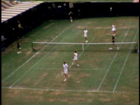 1974 WS Mixed doubles and crowd at the US Open Tennis Championship at Forest Hills West Side Tennis Club / Queens, New York