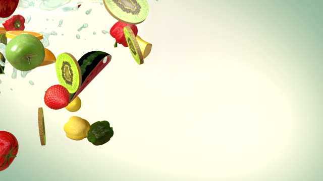 stockvideo's en b-roll-footage met mixed fruit (slow motion) - dranken en maaltijden