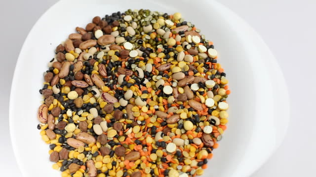 mixed indian pulses lentils - legume family stock videos and b-roll footage