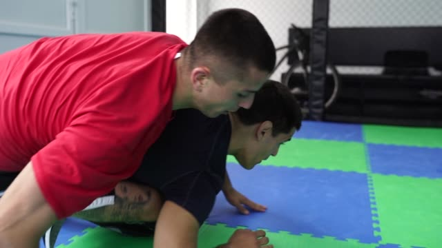 Mixed martial arts fighters on sparing practice