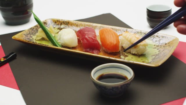 cu mixed nigiri sushi / tokyo, tokyo-to, japan - nigiri stock videos and b-roll footage