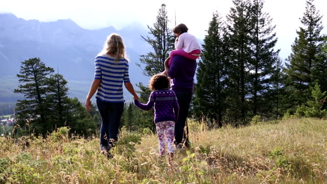 Mixed race family look off from mountain meadow