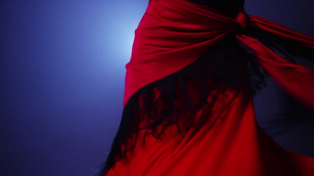 mixed race flamenco dancer twirling in costume - flamenco stock videos and b-roll footage