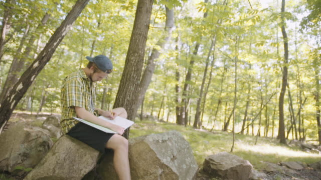 vídeos de stock, filmes e b-roll de mixed race man sitting on rock in forest drawing on sketchpad - boné