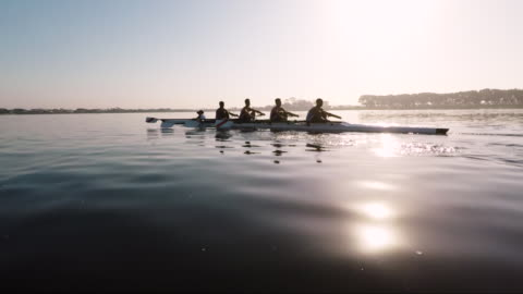 mixed race rowing team training on a lake at dawn - contestant stock videos & royalty-free footage