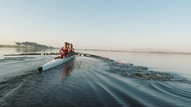 mixed race rowing team training on a lake at dawn - scull stock videos & royalty-free footage