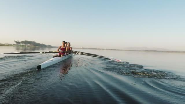 vídeos y material grabado en eventos de stock de mixed race rowing team training on a lake at dawn - remo con espadilla