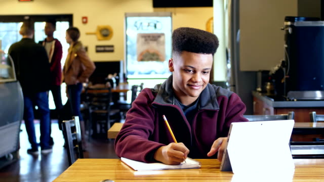 mixed race teenage boy studying - teenagers only stock videos & royalty-free footage