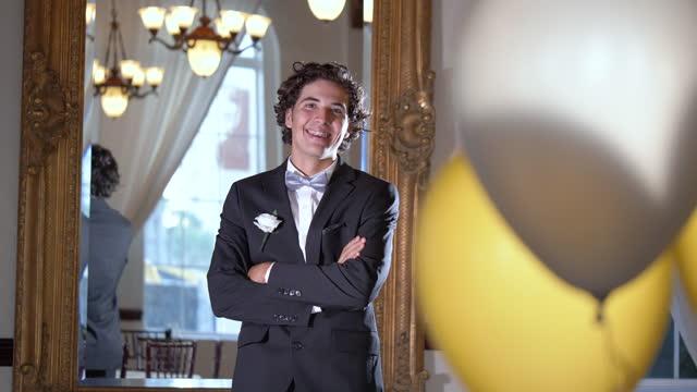 mixed race teenage boy wearing tuxedo - one teenage boy only stock videos & royalty-free footage